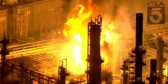 Large fire at Carson refinery sends flames 100 feet into the air.