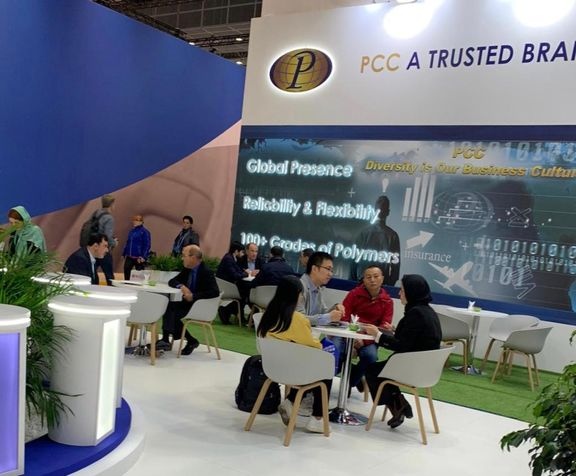 Visitors significant welcomed to PCC Booth in Düsseldorf, Germany.